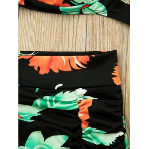 Spaghetti Strap Backless Floral Print Two-Piece Swimsuit - BLACK L