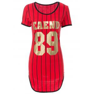 Sexy Short Sleeve Striped Letter Printed Slit Bodycon Mini Dress For Women - Red - L