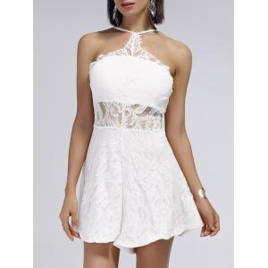 Cut Out Backless Sheer Lace Romper - White - S