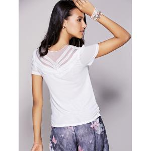 Chic Mesh Patchwork Rhinestoned Women's T-Shirt -