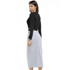 Chic Round Neck Long Sleeve Plain Crop Top + Spliced Skirt Women's Twinset -