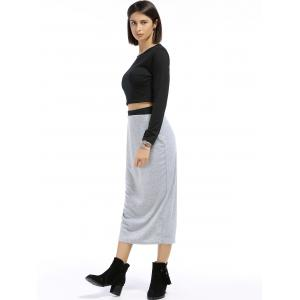 Chic Round Neck Long Sleeve Plain Crop Top + Spliced Skirt Women's Twinset - BLACK/GREY S