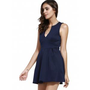 Plunging Neck Sleeveless Semi Formal Dress -