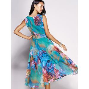 Bohemian Floral Sleeveless Chiffon Tea Length Dress -