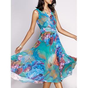 Bohemian Floral Sleeveless Chiffon Tea Length Dress