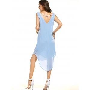 Casual Scoop Neck Sleeveless High Low Backless Dress For Women -