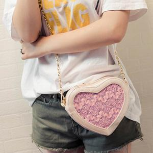 Sweet Heart Shape and Lace Design Crossbody Bag For Women - LIGHT PINK