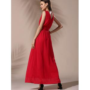 Fashionable Sleeveless High-Waisted Solid Color Chiffon Women's Dress -