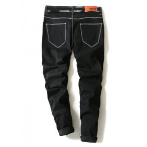 Contrast Suture Narrow Feet Denim Pants - BLACK 36