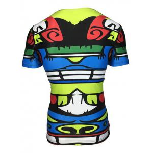 Round Neck 3D Totem Color Block Printed Short Sleeve T-Shirt For Men -