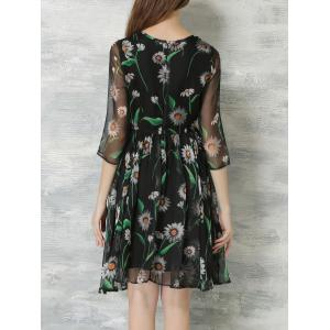 Elegant 3/4 Sleeves Mesh Floral Print Chiffon Dress For Women -