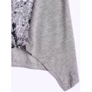 Loose-Fitting Printing Round Neck Cap Sleeve Top For Women -