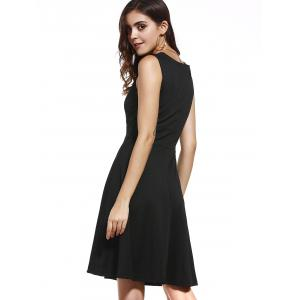 Retro Style Square Neck Sleeveless Button Embellished Solid Color Dress For Women -