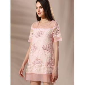 Trendy Round Neck Voile Spliced Embroidery Beaded Women's Dress -