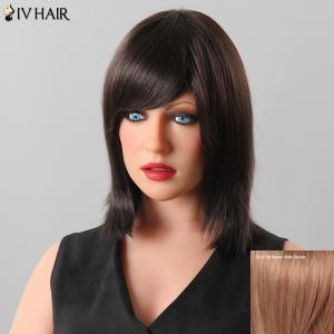 Stylish Women's Natural Straight Inclined Bang Siv Hair Human Hair Wig