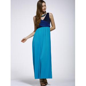 Gorgeous V-Neck Sleeveless Side Slit Patchwork Dress For Women -