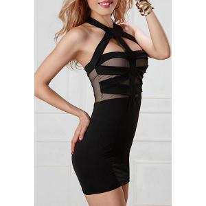 Open Back Mesh Panel Bandage Fitted Halter Club Dress - BLACK M