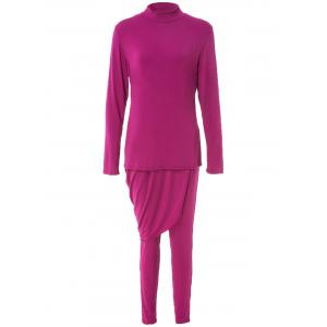 Trendy Solid Color Long Sleeve Asymmetric Dress and Bodycon Pants Suit For Women