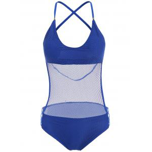 Sexy Halter Neck Blue Mesh Design Hollow Out One-Piece Swimwear For Women - Blue - S