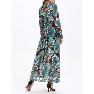 Selva Style Plunging Neck Long Sleeve Dress - GREEN 2XL