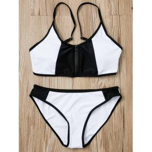 Chic Black and White Spliced Zip Up Bra and Briefs Bikini Set For Women