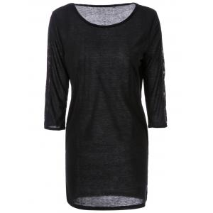 Sexy Round Neck 3/4 Sleeve Hollow Out Slimming Dress For Women