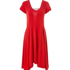 Sexy U Neck Short Sleeve Solid Color Lace-Up Cut Out Irregular Dress For Women