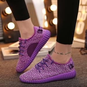 Leisure Lace-Up and Mesh Design Sneakers For Women - PURPLE 38