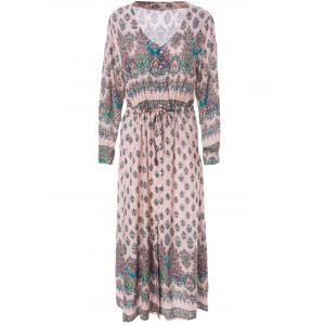 Bohemian V-Neck 3/4 Sleeve Printed Women's Dress