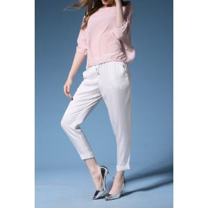 Silk Blouse with Cuffed Cigarette Pants -