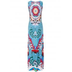 Chic Furcal Colorful Bohemia Tank Dress For Women - BLUE S