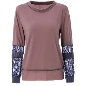 Trendy Scoop Neck Long Sleeve Tie-Dyeing  T-Shirt For Women - Coffee - S