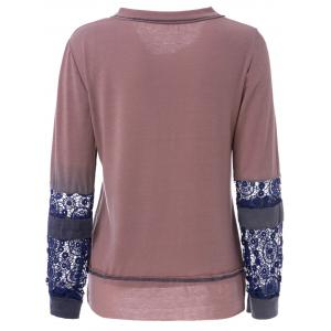 Trendy Scoop Neck Long Sleeve Tie-Dyeing  T-Shirt For Women -