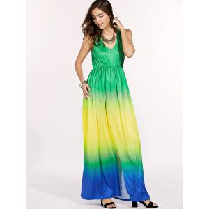 Chic Gradient Color V-Neck Sleeveless Maxi Dress For Women -