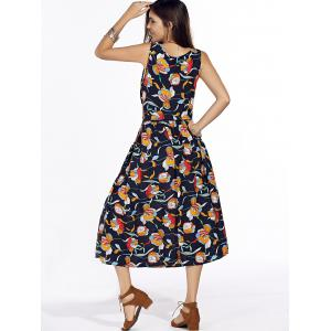 Stylish Scoop Neck Floral Print Sleeveless Tie Waist Dress For Women -