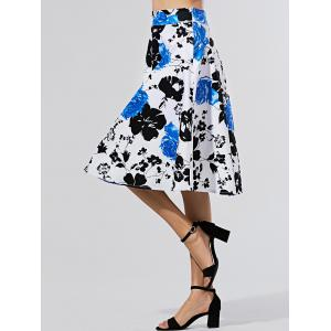 Flower Print A Line Knee-Length Skirt -