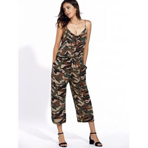 Stylish Spaghetti Strap Camo Print Jumpsuit For Women -