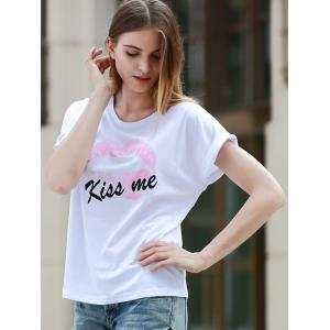 Simple Style Kiss Me Letter Print Short Sleeve Women's T-Shirt -