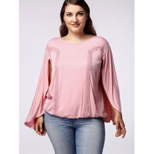 Stylish Women's Scoop Neck Bat Sleeves Backside Hollow Out Blouse -