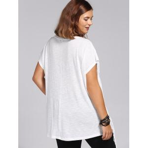 Stylish Women's Short Sleeves Jewel Neck Fringed T-Shirt - WHITE 3XL