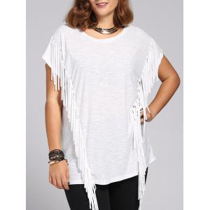 Stylish Women's Short Sleeves Jewel Neck Fringed T-Shirt