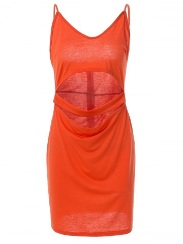 Cheap Spaghetti Strap Sleeveless Low-Cut Hollow Out Casual Dress - S ORANGE Mobile
