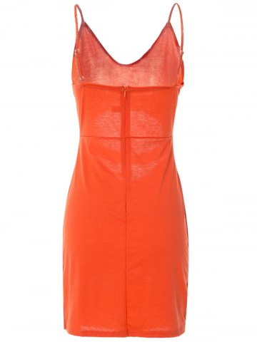 Outfits Spaghetti Strap Sleeveless Low-Cut Hollow Out Casual Dress - S ORANGE Mobile