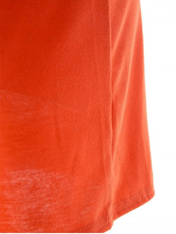 Trendy Spaghetti Strap Sleeveless Low-Cut Hollow Out Casual Dress - S ORANGE Mobile