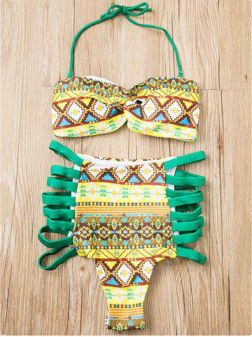 Buy Alluring Strapless Zig Zag Print Bikini Suit For Women GREEN M