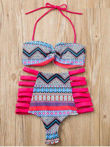 Trendy Alluring Strapless Hollow Out Print Bikini Suit For Women