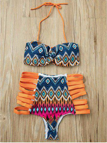 Outfits Alluring Strapless Cut Out Print Bikini Suit For Women
