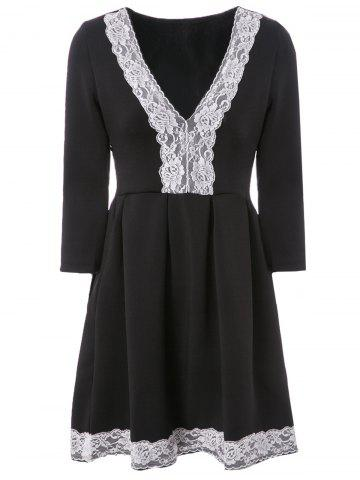 Elegant Plunging Neck 3/4 Sleeve Lace Spliced Pleated Dress For Women