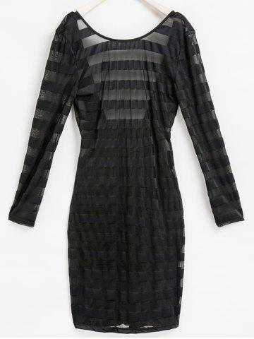 Sale Sexy Scoop Neck Long Sleeve See-Through Bodycon Women's Stripe Dress BLACK ONE SIZE(FIT SIZE XS TO M)