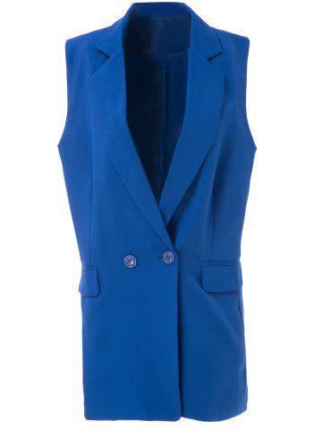 Sale OL Style Shawl Collar Solid Color Bodycon Blazer For Women - L SAPPHIRE BLUE Mobile